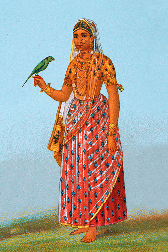 Vintage illustration Costume of a Maratha Indian woman holding parrot, 19th Century