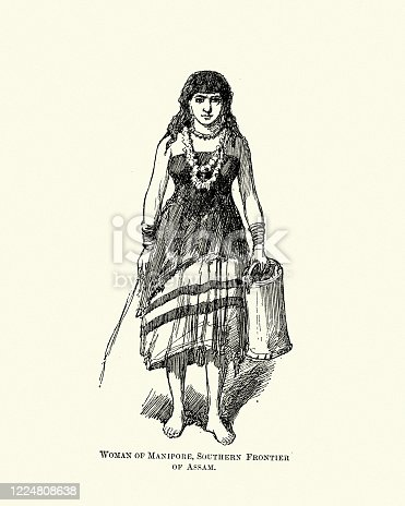 Vintage illustration of Costume of a woman of Manipur, India, 19th Century