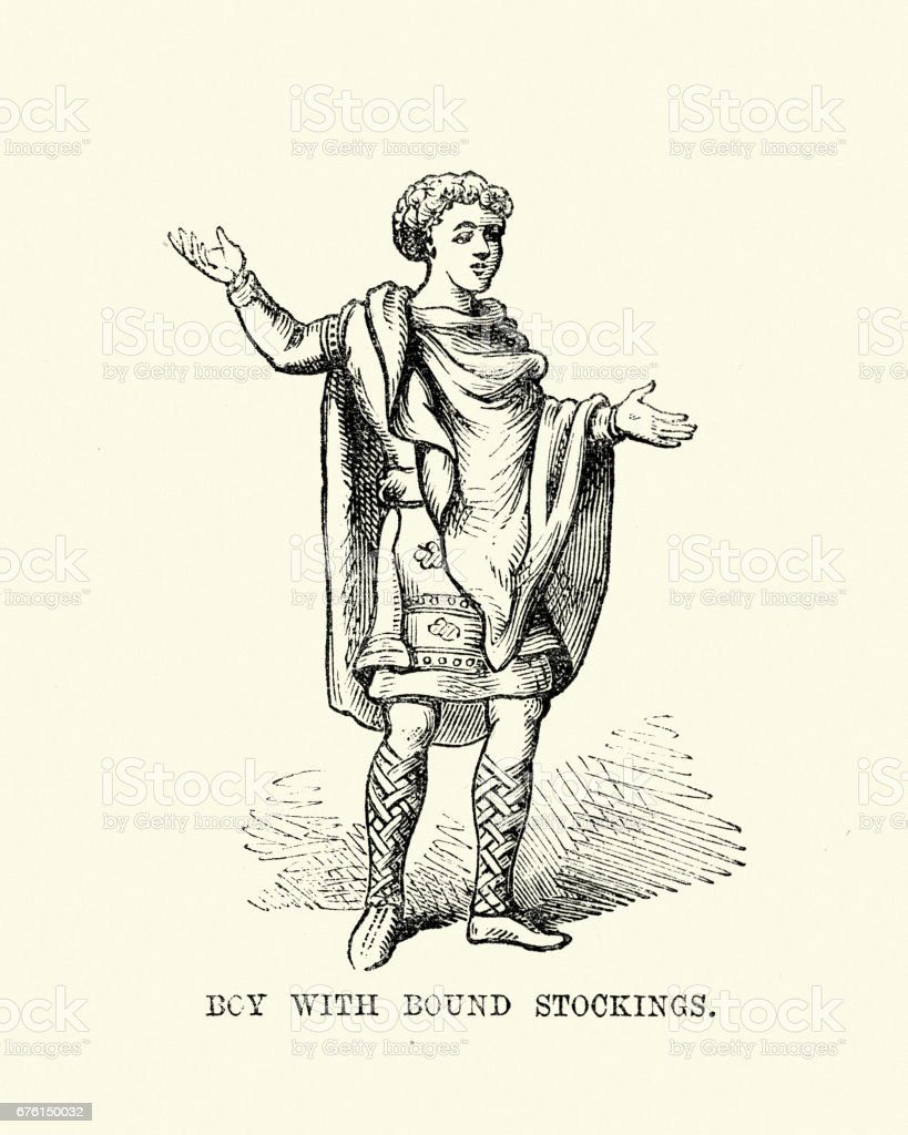 Costume of an Anglo Saxon boy wearing bound stockings vector art illustration