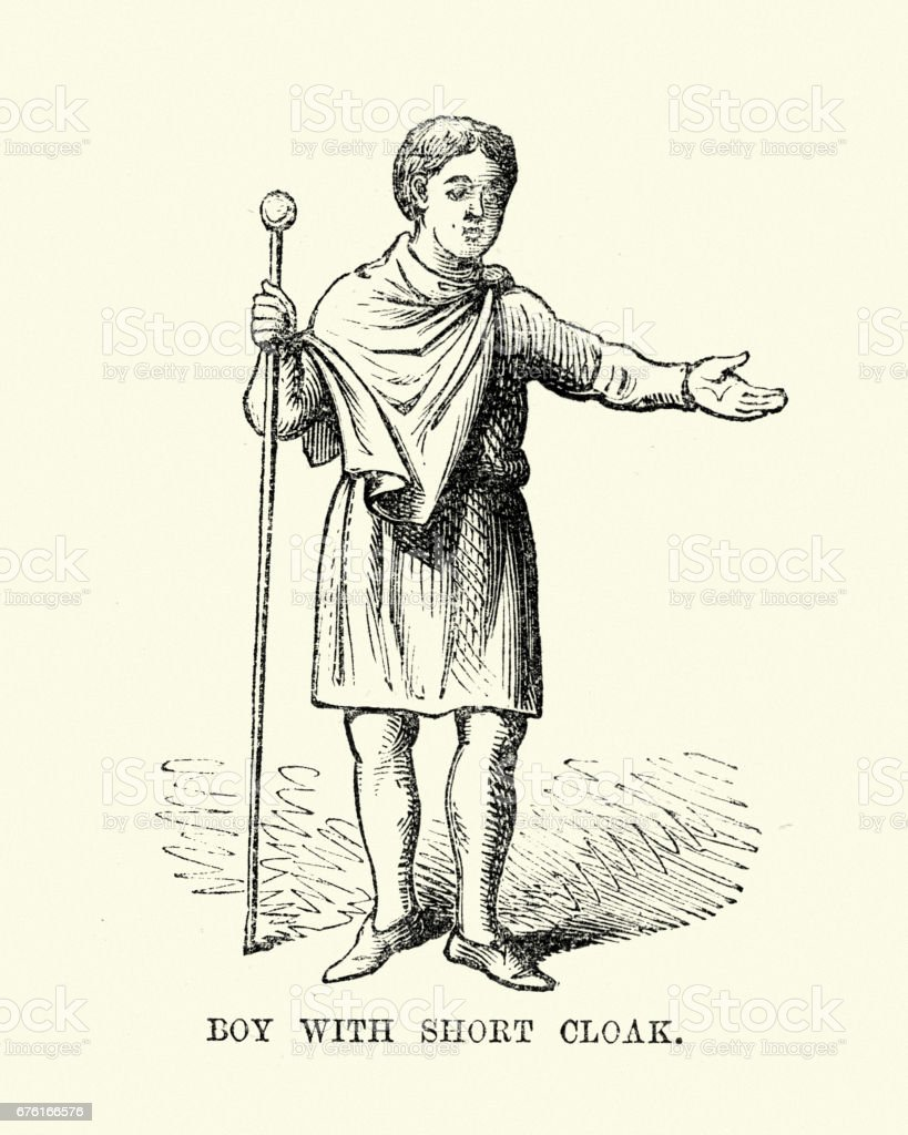 Costume of an Anglo Saxon boy wearing short cloak vector art illustration