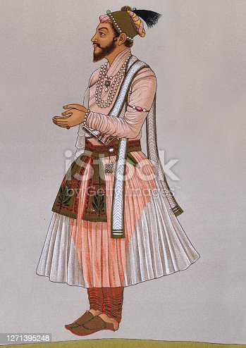 Vintage illustration of the Costume of a Indian Rajput (son of a king)  a large multi-component cluster of castes, kin bodies, and local groups, sharing social status and ideology of genealogical descent originating from the Indian subcontinent.