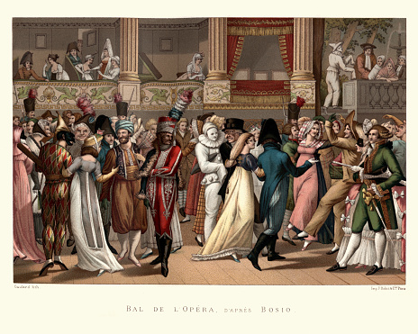 Vintage engraving of Costume party at the Opera, French, late 18th Century. Bal de L'Opera, D'Apres Bosio. Opera Ball, After Bosio