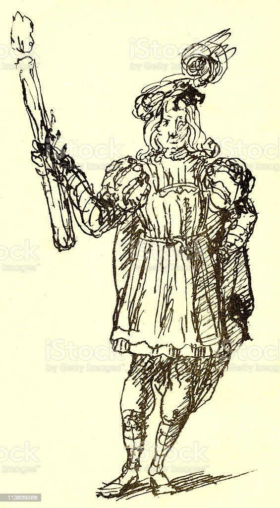 Costume Sketch for Shakespeare's Romeo circa 1600s royalty-free costume sketch for shakespeares romeo circa 1600s stock vector art & more images of 17th century style