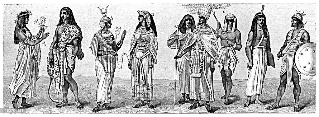 Costumes from Ancient Egypt (antique wood engraving) vector art illustration