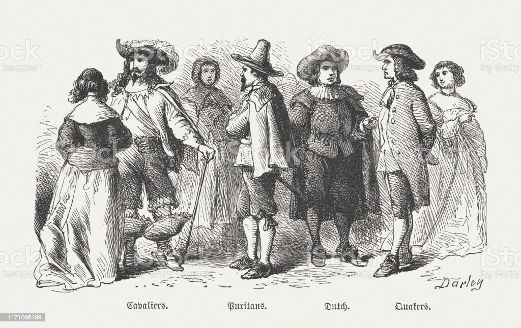 アメリカの入植者の衣装17世紀木彫り1876年出版 - 17世紀のベクター ...