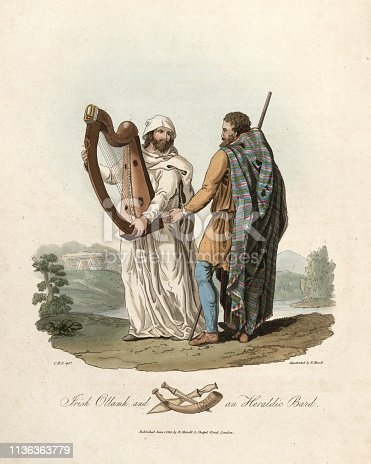 Vintage engraving of Irish Ottamh and Heraldic bard. 1815, The Costume of the Original Inhabitants of the British Islands, by MEYRICK, Samuel Rush and SMITH Charles Hamilton. In medieval Gaelic and British culture, a bard was a professional story teller, verse-maker, music composer, oral historian