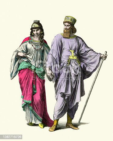 Vintage colour illustration Costumes of Ancient Persia, Noble man and woman