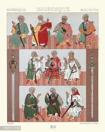 istock Costumes of Moorish chiefs, North Africa, Swords, History of fashion 1283747130