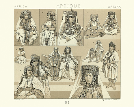 Vintage illustration of Costumes of Nomad and Sedentary women of the Sahara, History of fashion, 19th Century