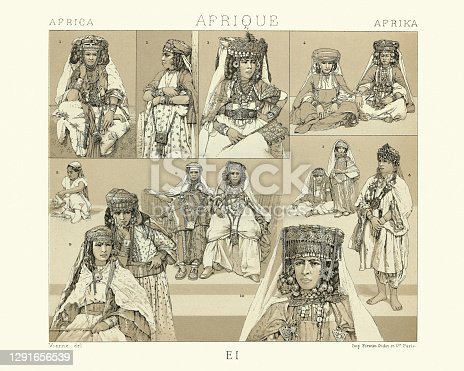istock Costumes of Nomad and Sedentary women of the Sahara, History of fashion 1291656539
