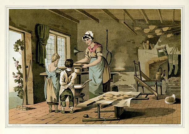ilustrações de stock, clip art, desenhos animados e ícones de costumes de yorkshire-casa de quinta da cozinha fazer doces bolos - baking bread at home