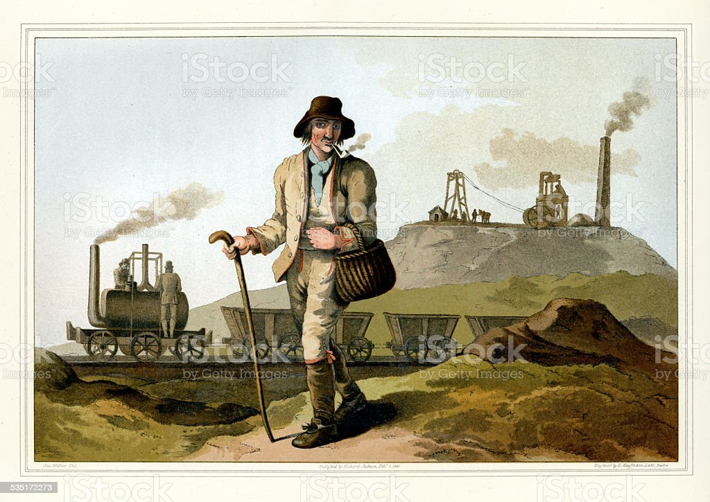 Costumes of Yorkshire - The Collier or Coal Miner vector art illustration
