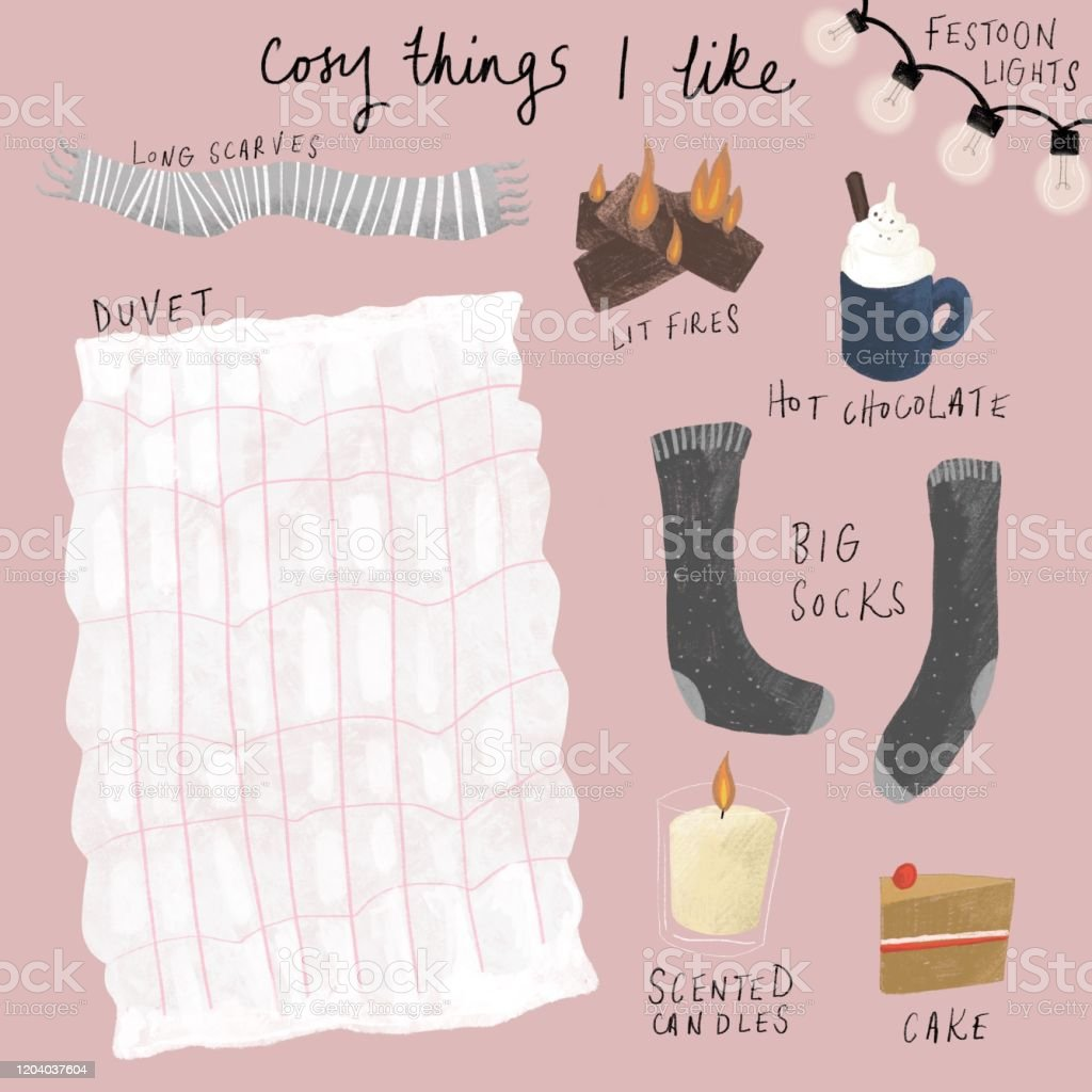 Cosy things I like - Royalty-free Autumn stock illustration