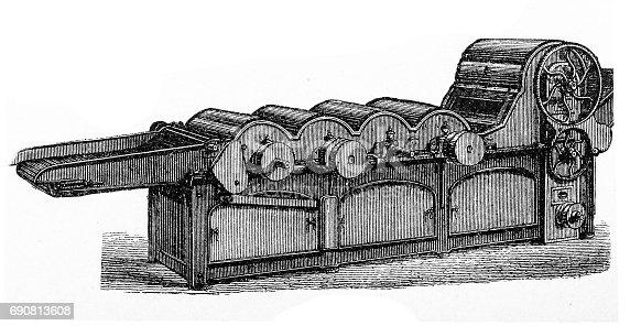 Illustration of a cotton mill machine