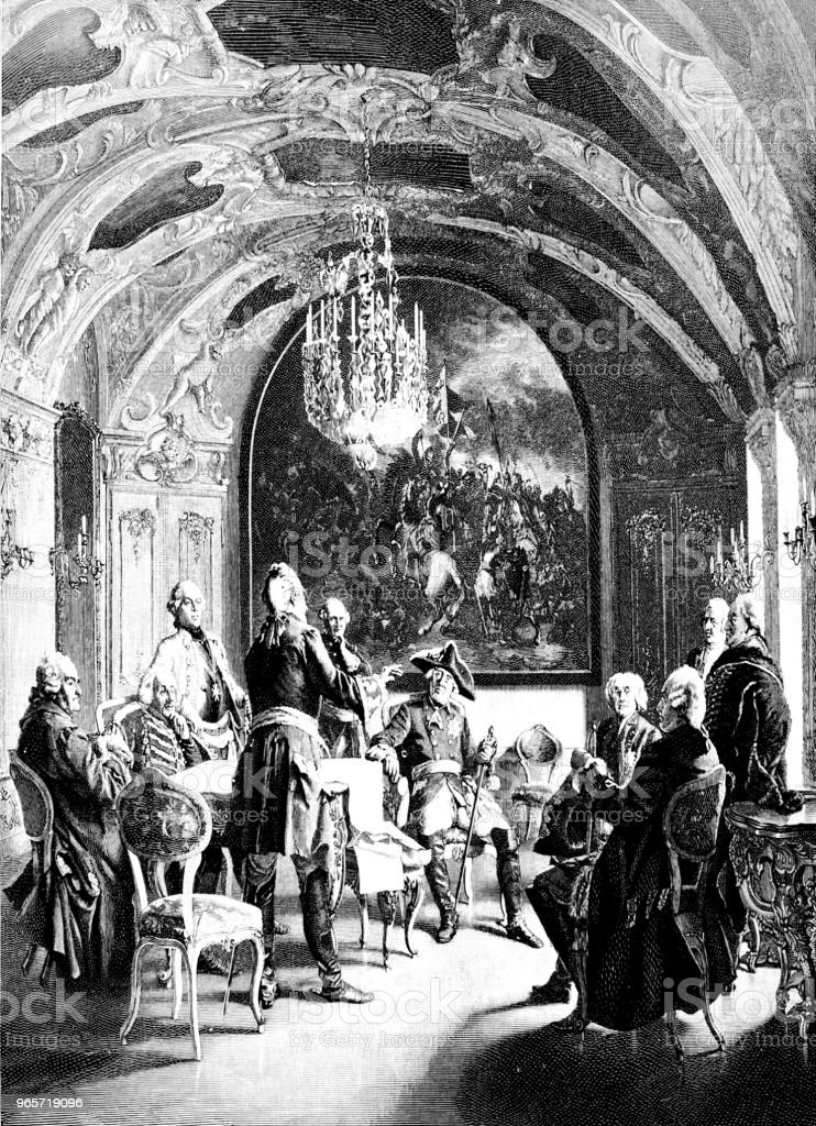 Council of War at Frederick the Great - Royalty-free 1890-1899 stock illustration