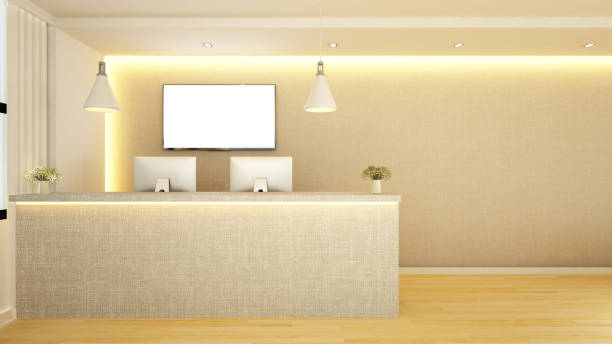 counter reception design - hotel reception stock illustrations