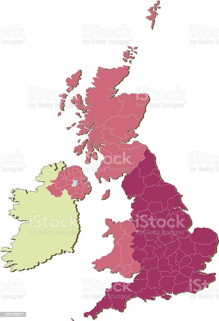 UK Counties countries three vector art illustration