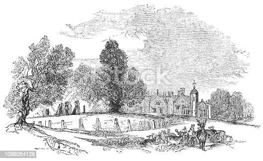 The country house and garden at Charlecote Park in Warwickshire, England from the Works of William Shakespeare. Vintage etching circa mid 19th century.