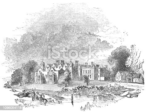 The country house at Charlecote Park in Warwickshire, England from the Works of William Shakespeare. Vintage etching circa mid 19th century.