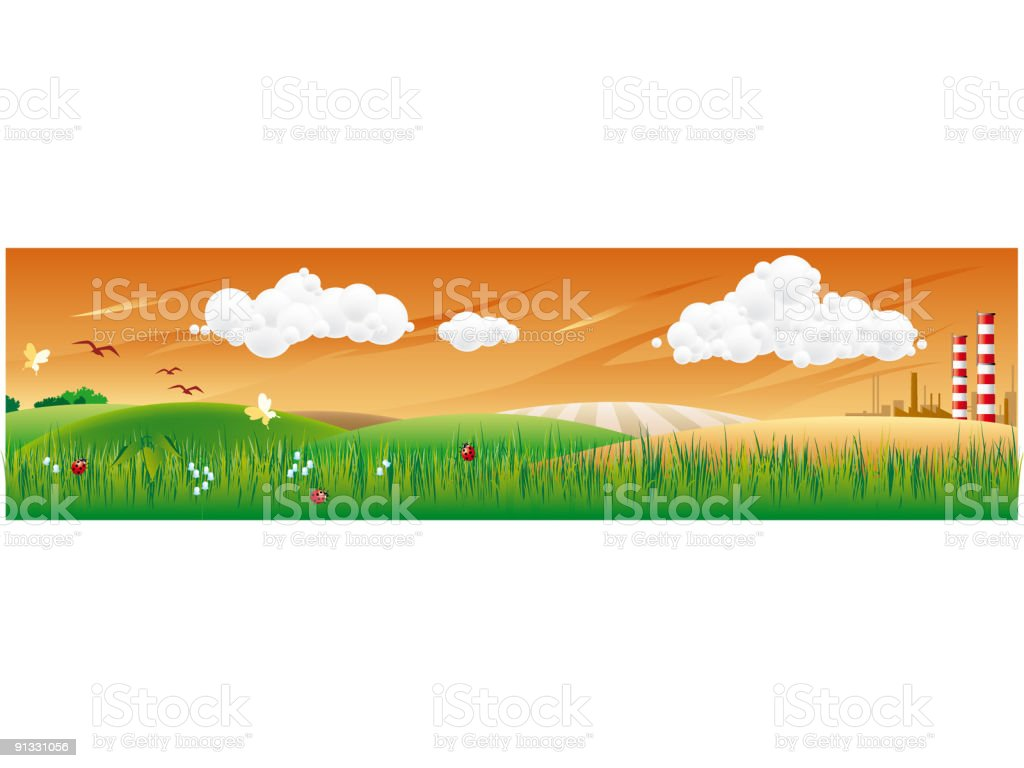 country landscape with factory royalty-free country landscape with factory stock vector art & more images of agriculture