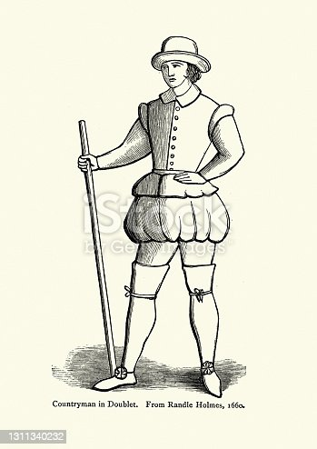 Vintage illustration of Countryman wearing doublet and thigh length boots, 17th Century fashion