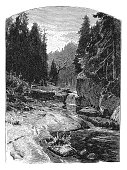 Illustration of a Countryside scene, mountain stream rocks and trees