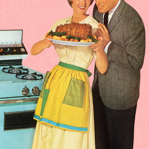 couple admiring roast - woman cooking stock illustrations