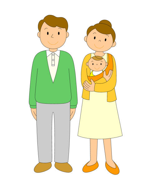 Couple and baby illustrations vector art illustration