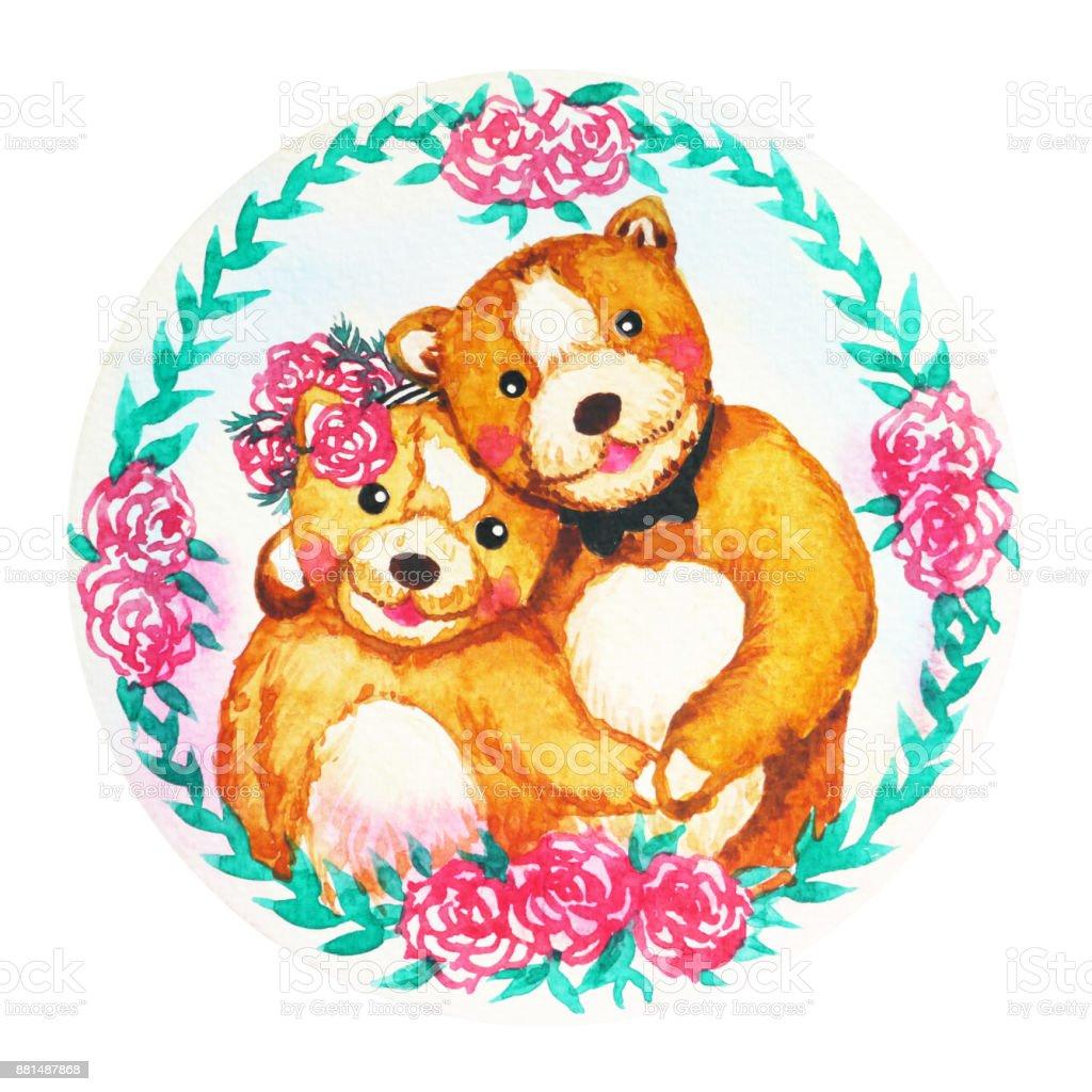 çift Ayılar çiçek çelengi Kutlama Suluboya Sevgililer Günü Boyama