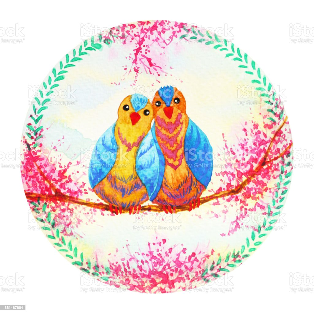 çift Kuş çiçek çelengi Kutlama Suluboya Sevgililer Günü Boyama Stok
