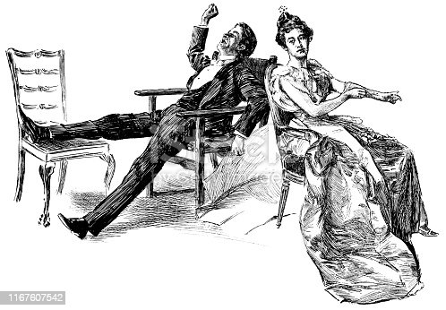Well dressed couple coming home after an exhausted night out in New York City, New York, USA. Vintage etching circa late 19th century.