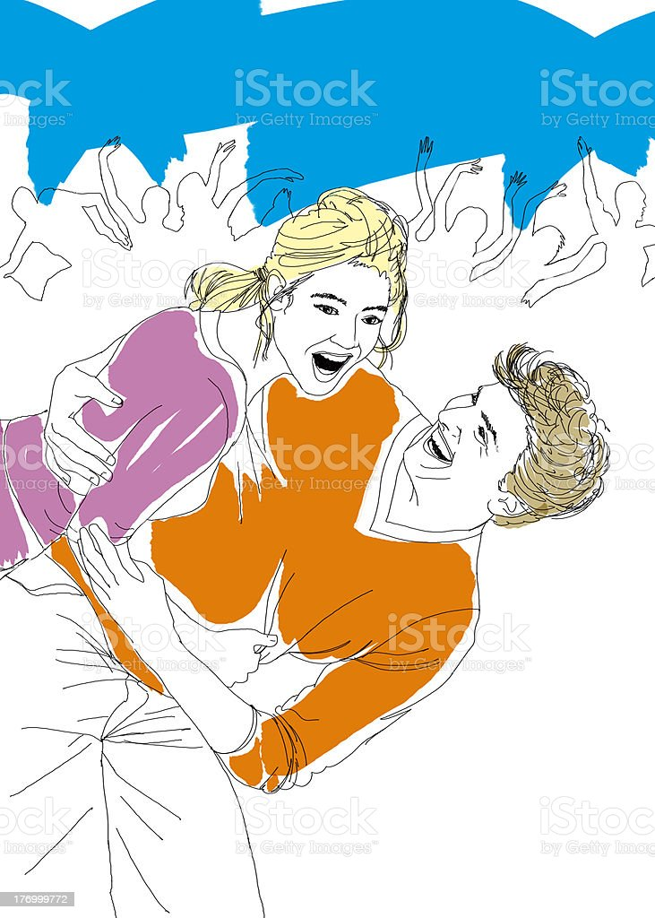 Couple dancing at party vector art illustration