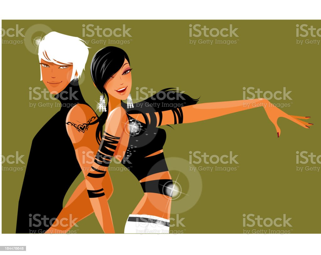 couple dancing together vector art illustration
