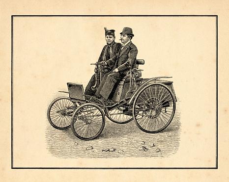 Antique automobile with driver and passenger Leichter Petroleummotorwagen von Benz & Co. Original edition from my own archives Source : Brockhaus 1897