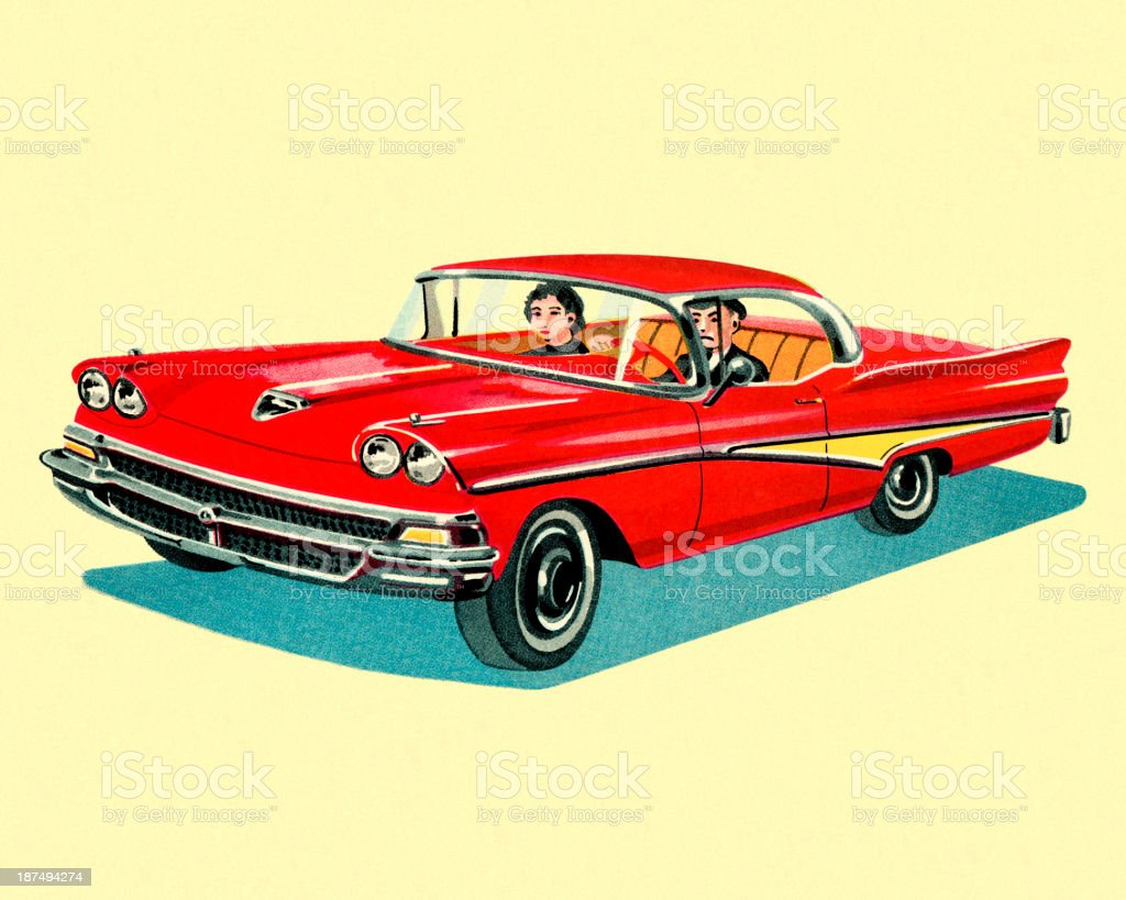Couple Driving in Vintage Car royalty-free couple driving in vintage car stock vector art & more images of car