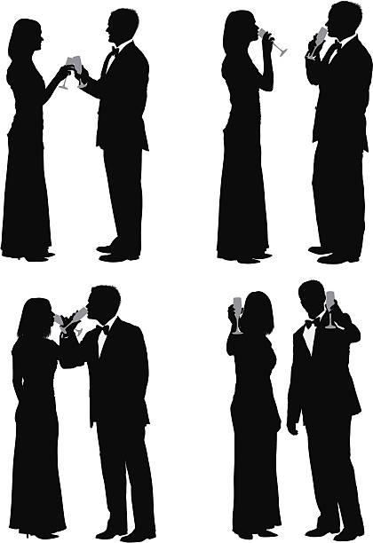 Couple profitant de champagne - Illustration vectorielle