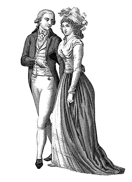 stockillustraties, clipart, cartoons en iconen met couple, france (xviii century) - 18e eeuw