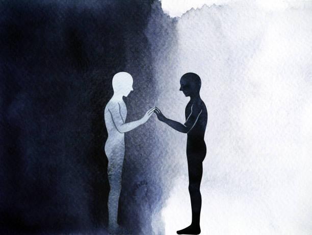 ilustraciones, imágenes clip art, dibujos animados e iconos de stock de mano de conexión humana permanente de pareja hasta pose, universo de mundo de cuerpo abstracto dentro de la mano de acuarela mente dibujo diseño de ilustración - profesional de salud mental