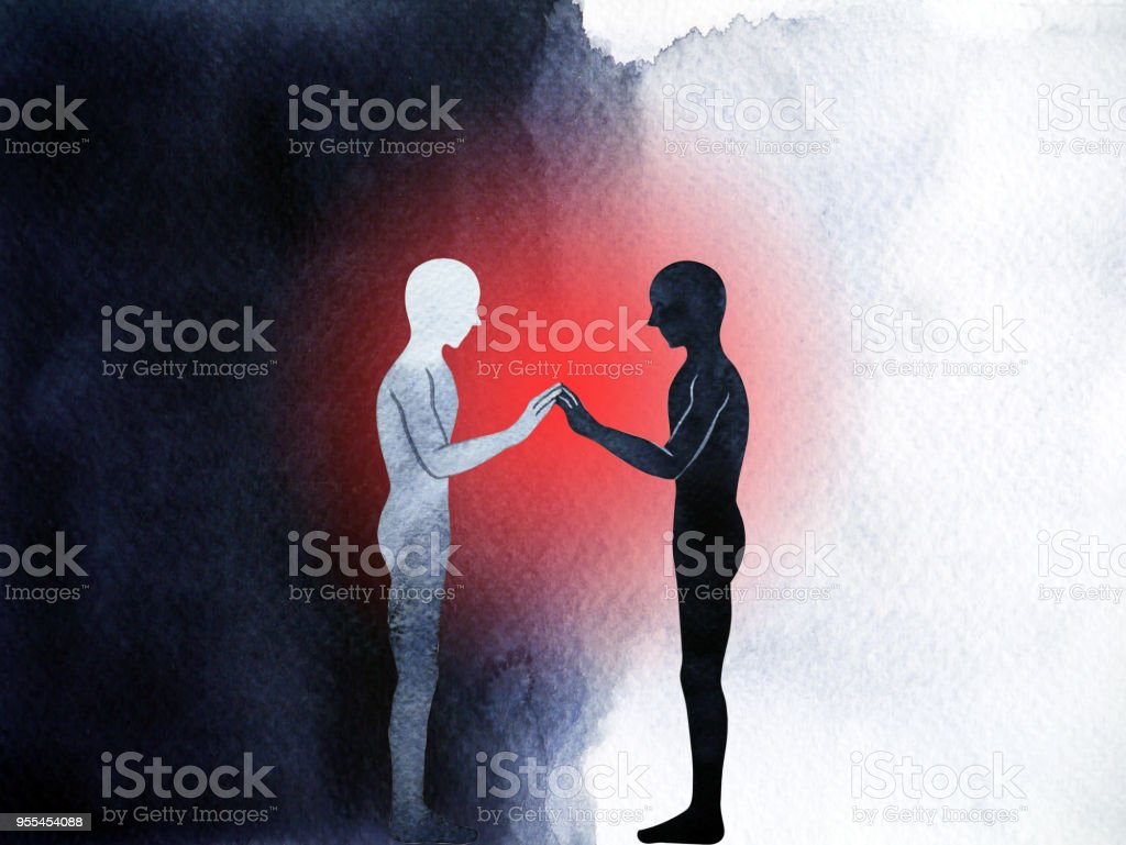 Paar Menselijke Permanente Verbinding Hand Omhoog Pose