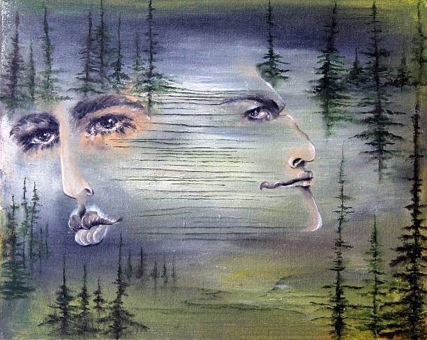 illustrazioni stock, clip art, cartoni animati e icone di tendenza di coppia - woman portrait forest