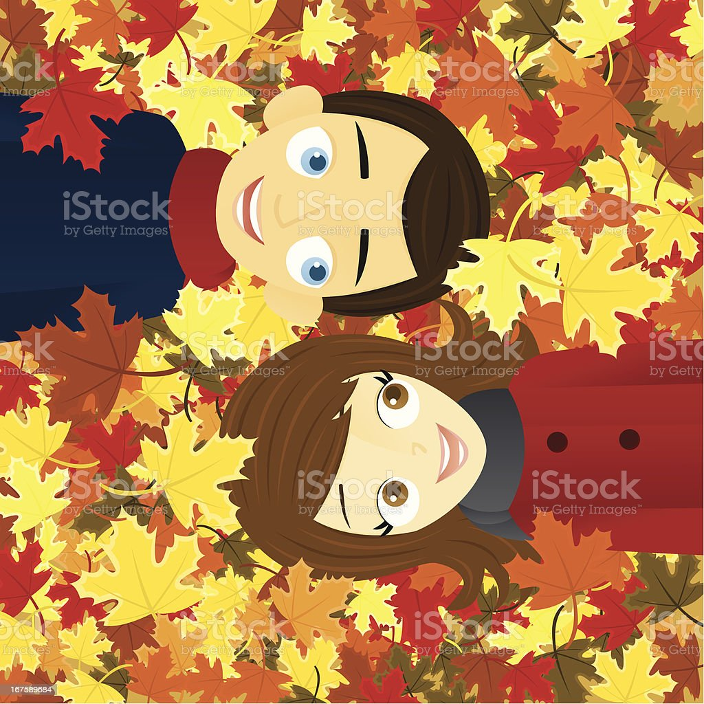 Couple in Autumn Leaves A vector illustration of a smiling couple lying in autumn leaves. Adult stock vector