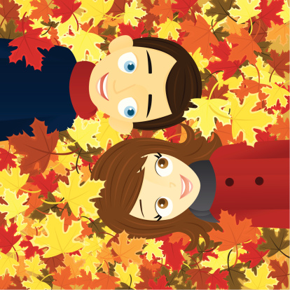 Couple In Autumn Leaves Stock Illustration - Download Image Now