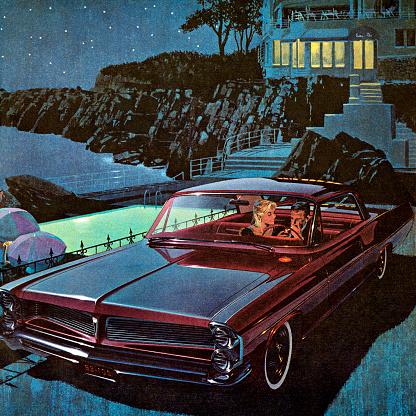 Couple in Burgandy Vintage Car at Night