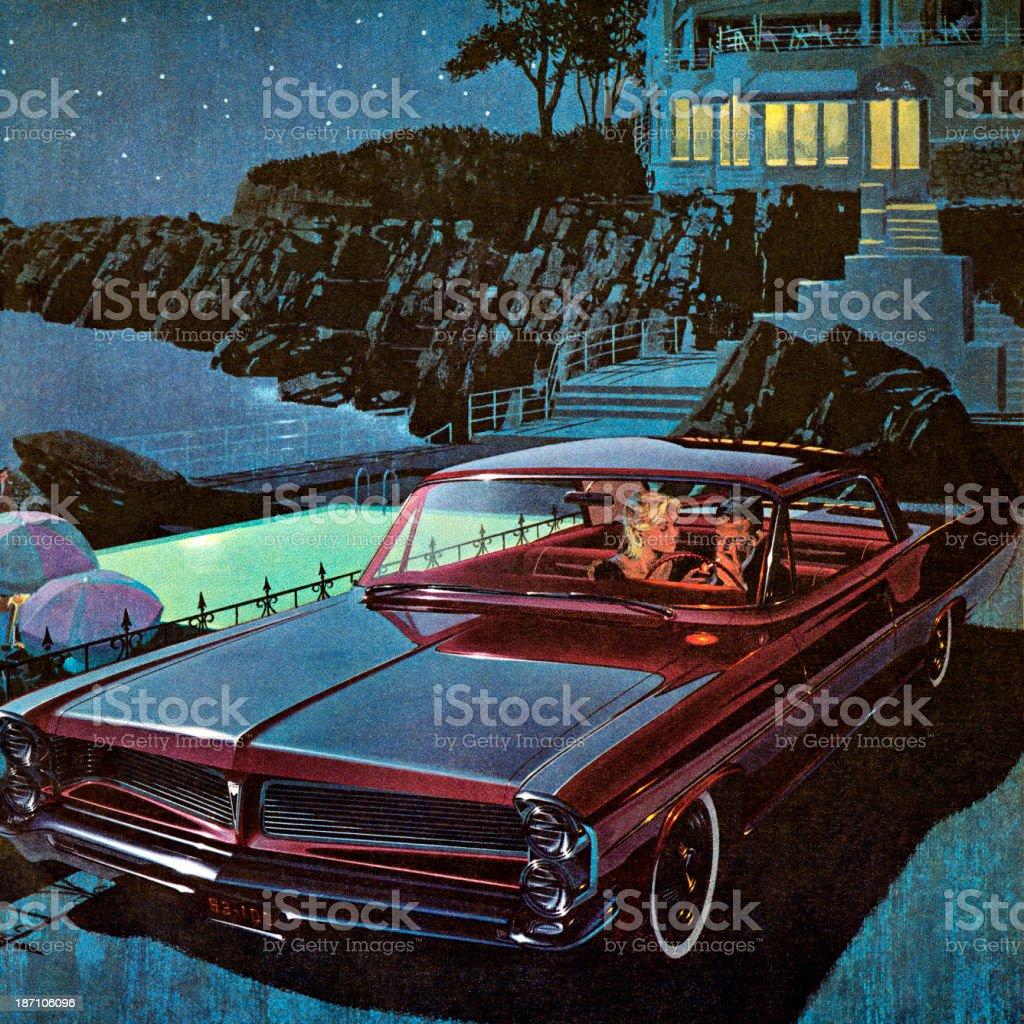 Couple in Burgundy Vintage Car at Night vector art illustration