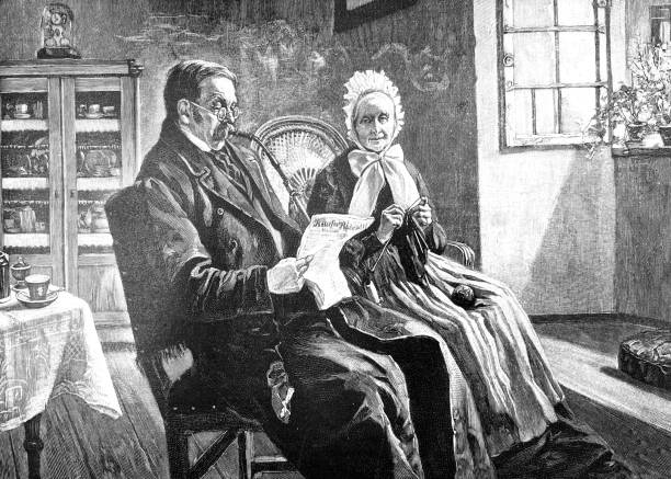 couple in living room reading newspaper - old man smoking pipe drawing stock illustrations, clip art, cartoons, & icons
