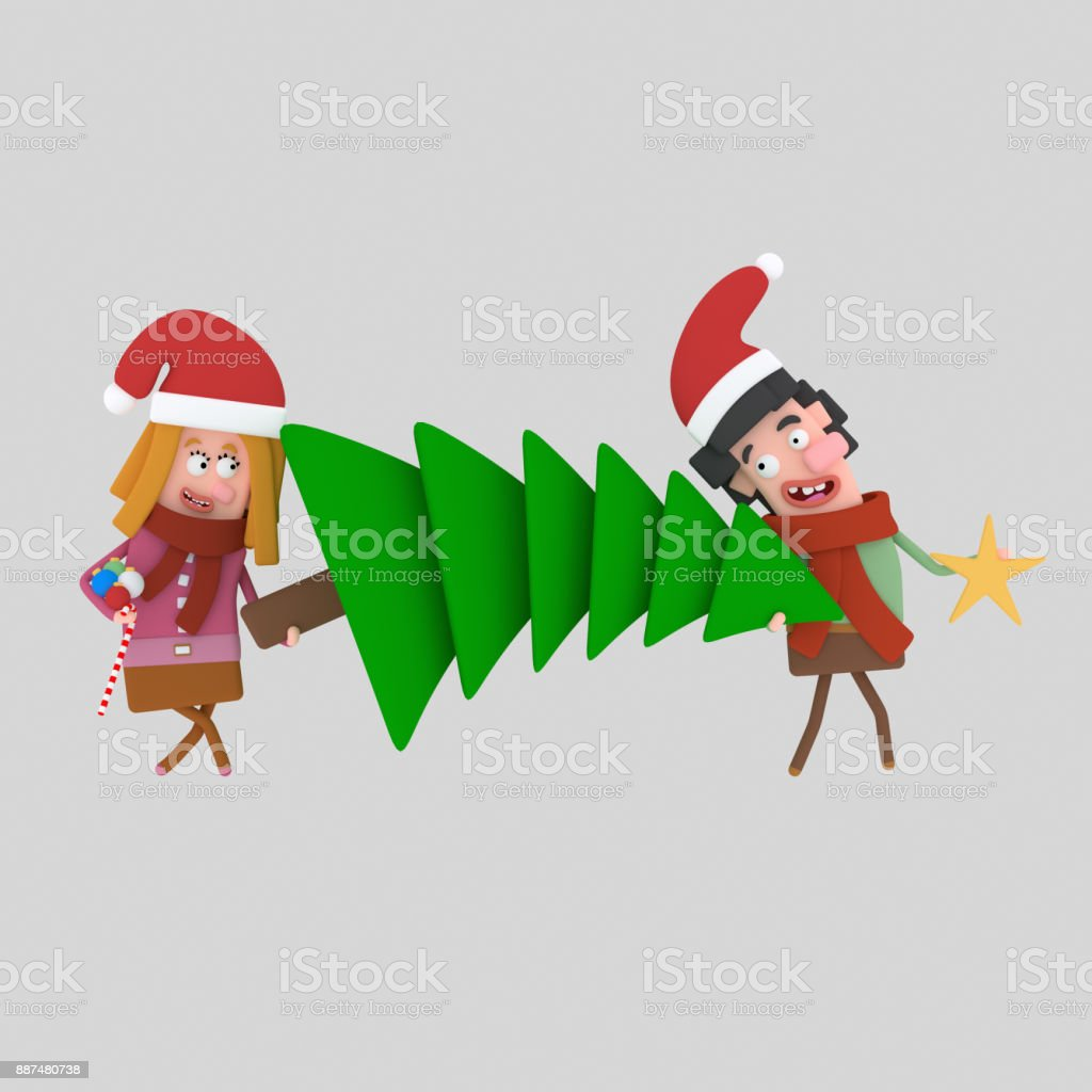 Pareja en el amor con un árbol de Navidad - ilustración de arte vectorial