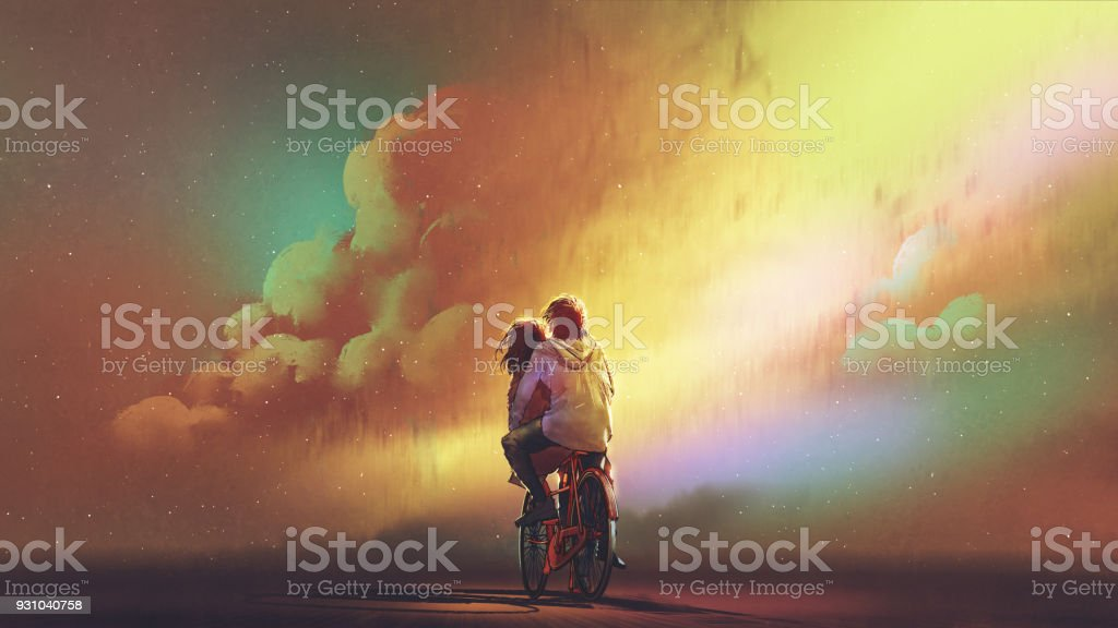 couple in love riding on bicycle vector art illustration