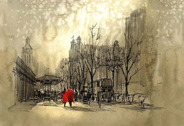 couple in red walking on street of city - couples stock illustrations, clip art, cartoons, & icons