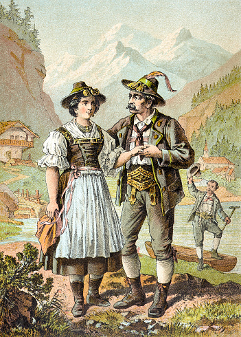 Couple in traditional clothes from the Zillertal valley