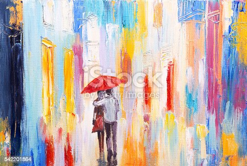 istock couple is walking in the rain under an umbrella, abstract 542201864